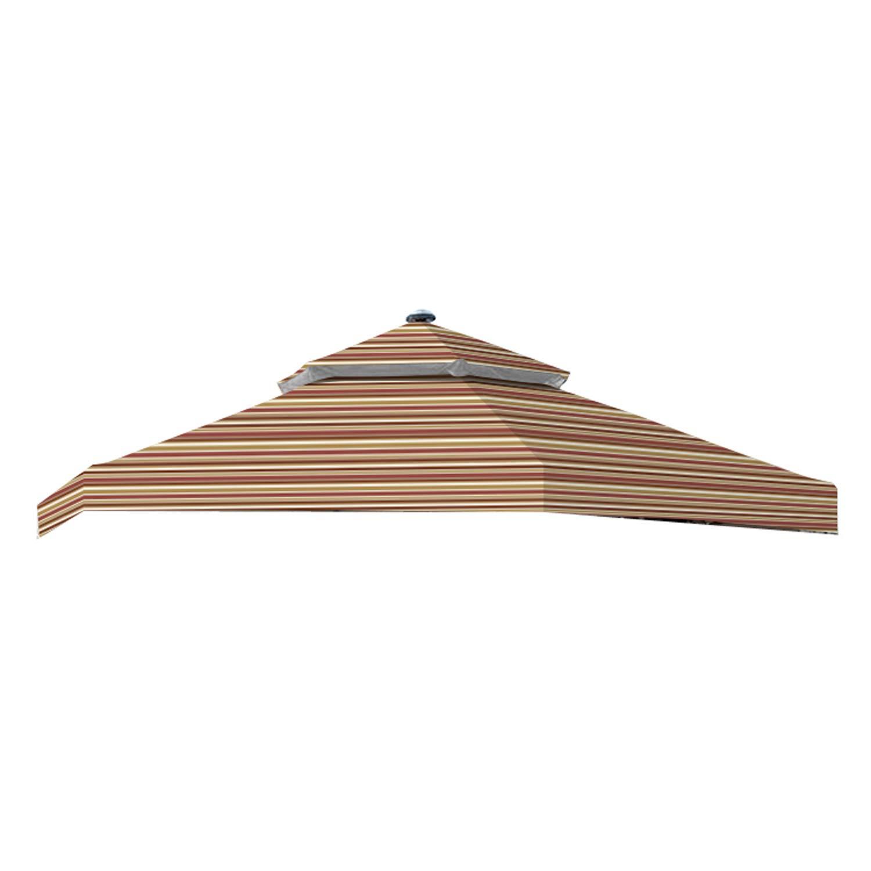 Garden Winds Replacement Canopy for The Hampton Bay Solar Hexagon Gazebo – Standard 350 – Striped Canyon
