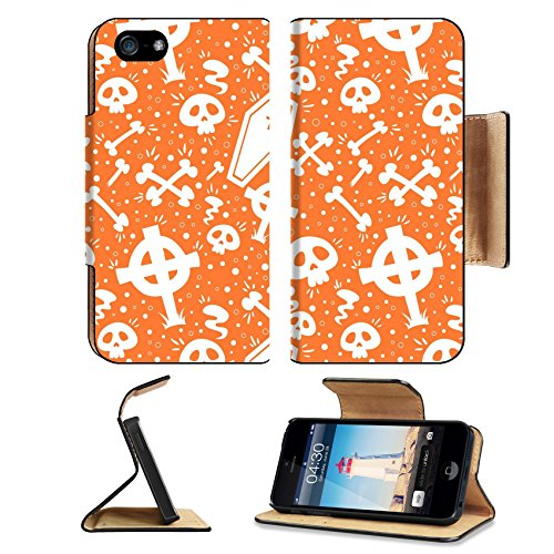 Luxlady Premium Apple iPhone 5 iphone 5S Flip Pu Leather Wallet Case iPhone5 IMAGE ID: 30829505 Creepy cartoon Halloween seamless texture with tomb stones sculls and (Cartoon Tombstone)