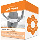 BodyHonee Extra Strength Hair Removal Waxing Kit Men + Women, All Natural (10 oz)