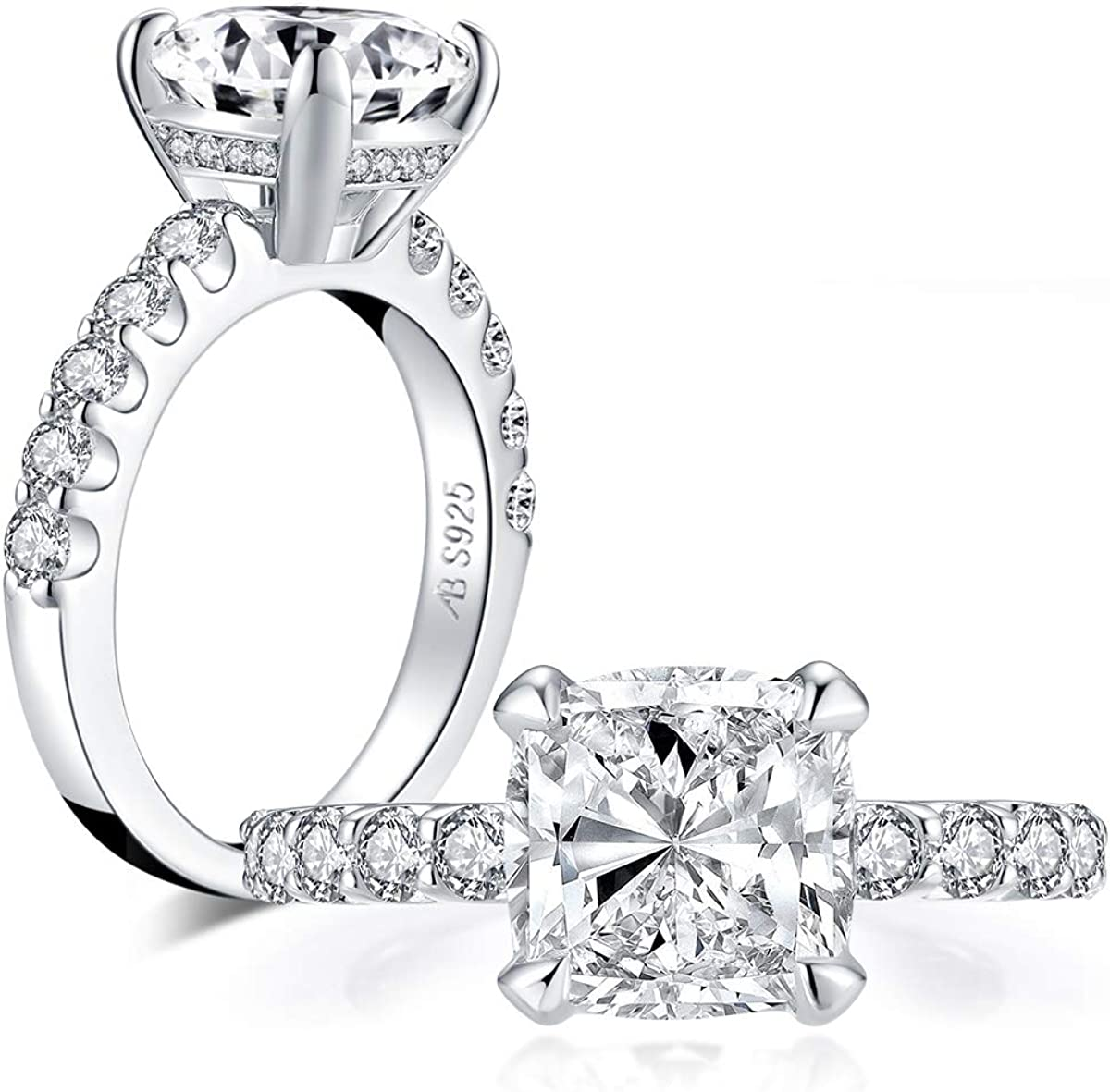 AINUOSHI 3 Carat Brilliant Cut White Gold Plated Cubic Zirconia CZ Engagement Wedding Ring for Women