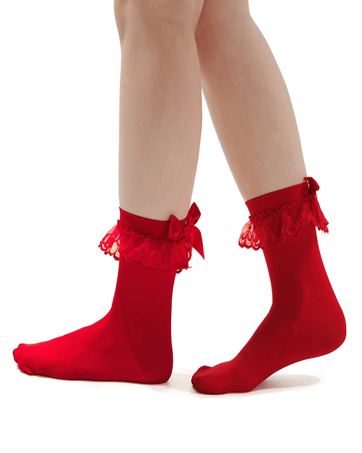 Vintage Socks | 1920s, 1930s, 1940s, 1950s, 1960s History Anklet Socks Ruffled Bow 4 Color Options Red Pink Black White $7.49 AT vintagedancer.com