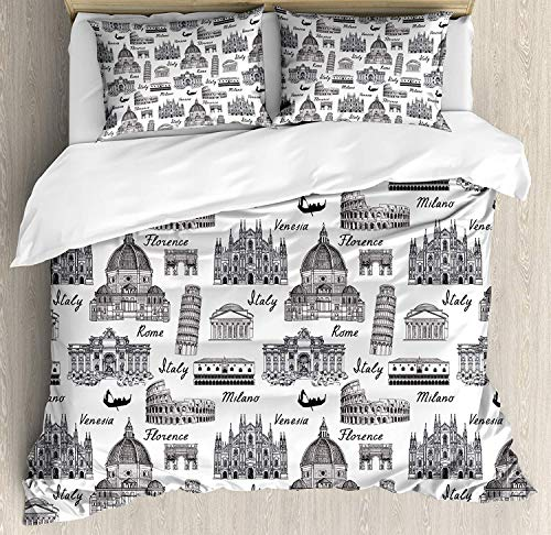 LALADecor City 3 Pieces Duvet Cover Set Monochrome Sketch Style Famous Places from Italy Rome Milano European Architecture Bedding Set (1 Duvet Cover+2 Pillow Shams) Twin Size, Black White