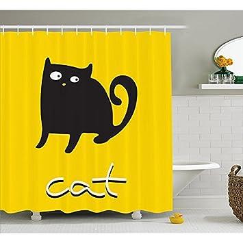 Rideau de douche par Kawaii Funny, Silhouette d\'un chat noir sur un ...