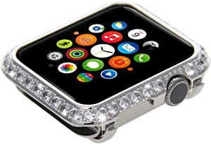 Sparkle Bling Bling Diamond Watch Bezel Case for Apple Watch iWatch S1/S2/S3 Sports & Edition Version Bigger Size 42MM (Platinum Diamonds)