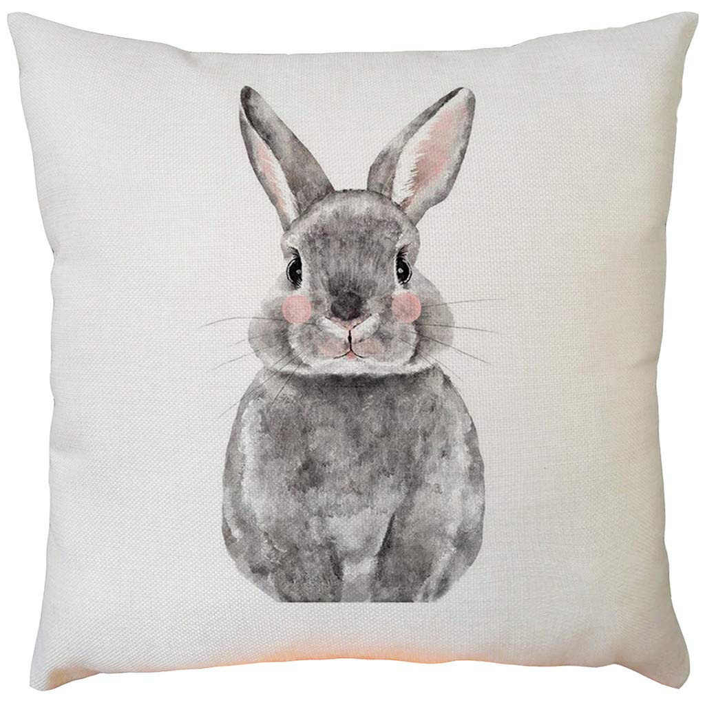 Weiliru Happy Spring Gift Easter Lovely Colored Eggs Some Bunny Waist Lumbar Cotton Linen Throw Pillow case Cushion Cover Pillowcase Sofa Chair Decoration