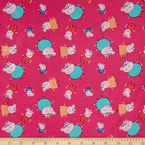 Springs Creative Products Peppa Pig One Big Family Pink Fabric by The Yard,