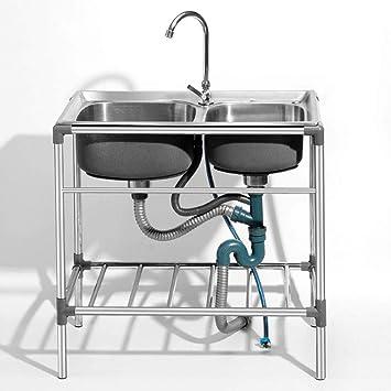 HomeLava Fregadero de dos seno para jardín Fregadero de acero inoxidable Fregadero al aire libre Aplicable al exterior 76 * 42 * 80cm(sin grifo): Amazon.es: Bricolaje y herramientas