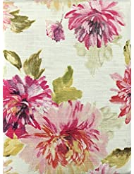 Nicole Miller Fabric Table Runner Pink Taupe Gray Floral Pattern Romantic Flowers on Cream (14 x 72)
