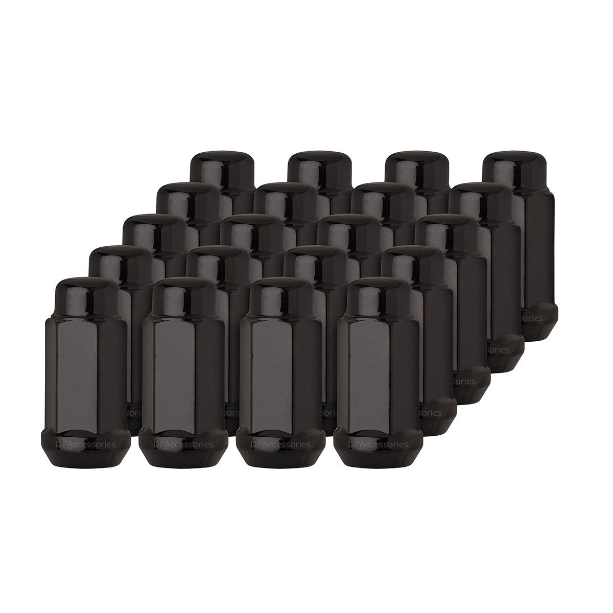 DPAccessories LCB4B8HE2BK04020 20 Black 14x1.5 Closed End XL Bulge Acorn Lug Nuts - Cone Seat - 19mm Hex Wheel Lug Nut