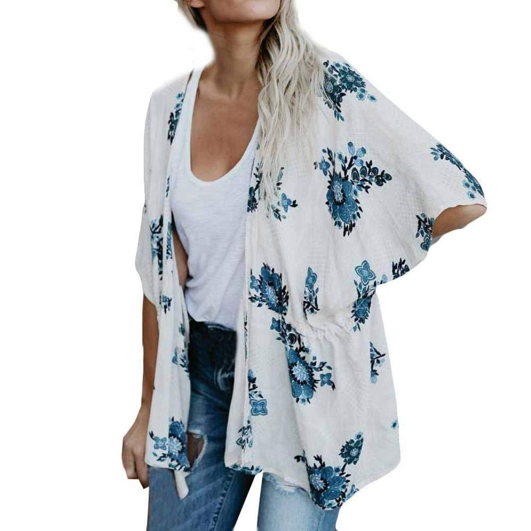 Go-First Womans Beach Cardigan Summer Lightweight Cozy Boho Irregular Hem Ethnic Tunic Dress Vintage Summer Cotton Elegant Shawl (Color : Bianco, Size : S)