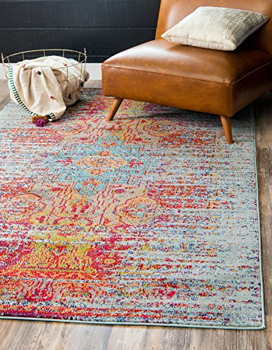 (Unique Loom Vita Collection Traditional Over-Dyed Vintage Blue Area Rug (5' 0 x 8' 0) )
