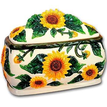 Amazon Com Sunflowers 3d Large Ceramic Bread Box New