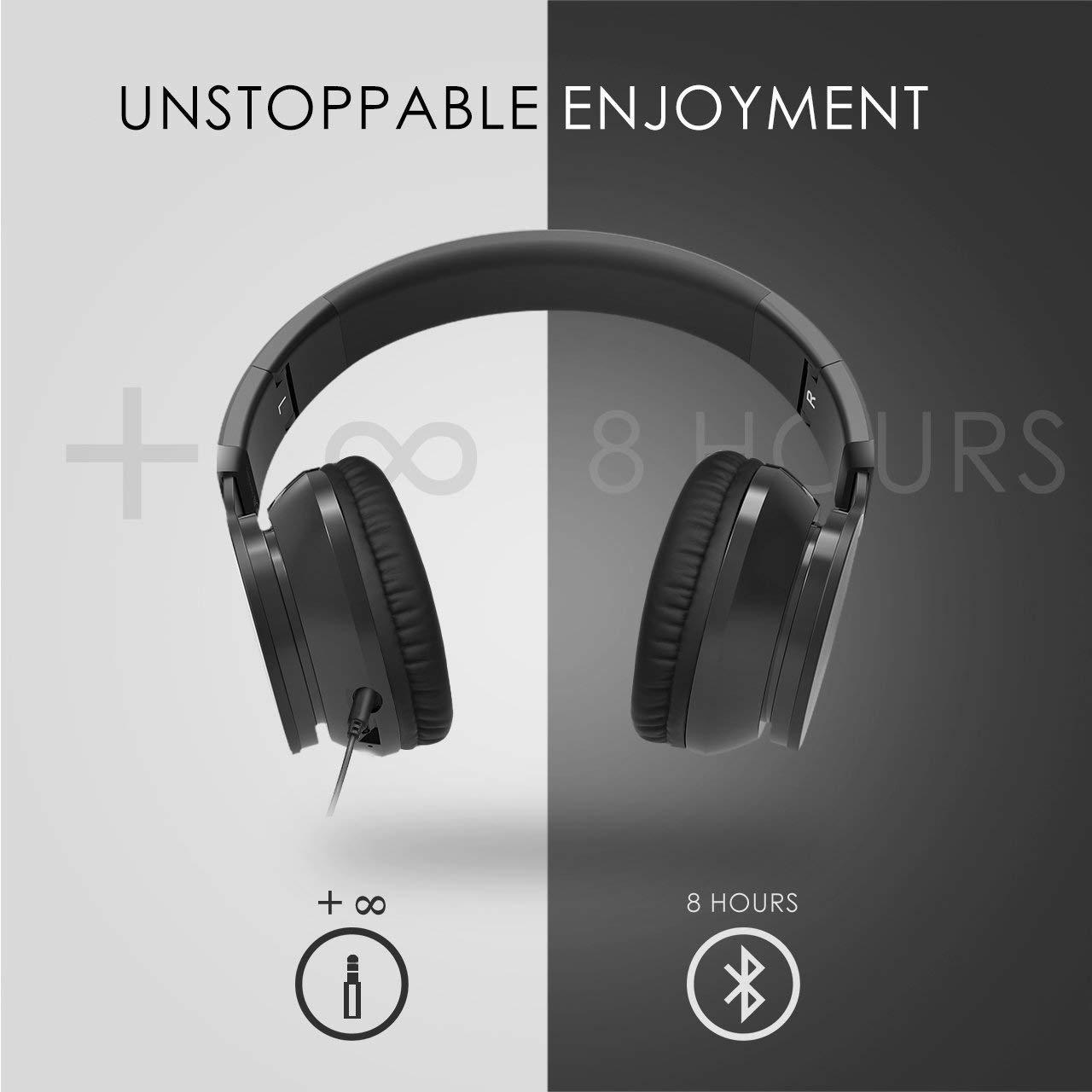 VicTsing Version Mejorada Auricular Bluetooth, inalámbrico, Bluetooth Plegable Casco Sobre la Cabeza estéreo inalámbrico/con Cable Auricular con Micrófono ...