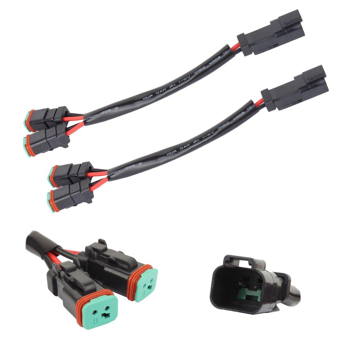 TOMALL 2 conducteurs Deutsch DT DTP 2 broches Adaptateur de prise pour la lumiè re de travail de LED Connecteurs de rattrapage