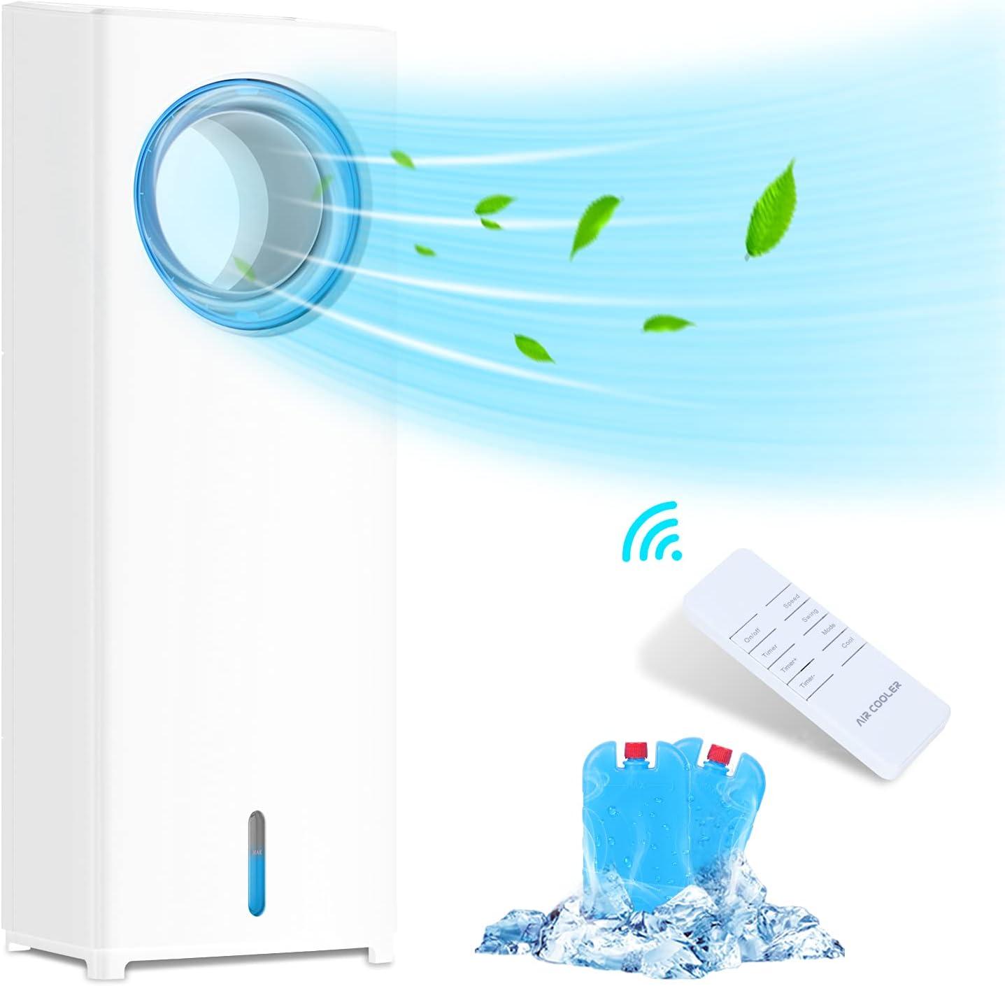 Himylife - Climatizador Evaporativo Portátil, Enfriador de Aire Silencioso, 3 Velocidades, 8H, Control Dual, Ventilador de Torre 3 en 1