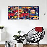 Liguo88 Custom canvas Mexican Decorations Collection Aztec Pattern Ethnic Colorful Ornamental Mythology Ancient History Snake Bedroom Living Room Wall Hanging