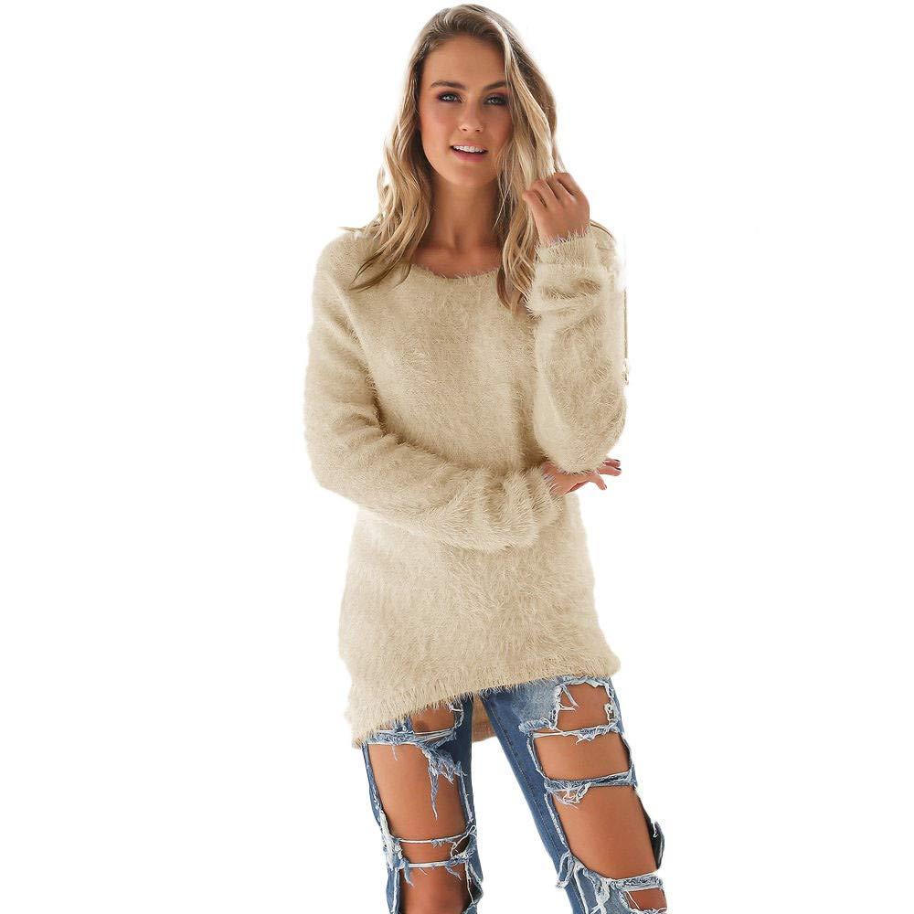Cenglings Womens Warm Long Sleeve Sweater Ladies Round Neck Fuzzy Oversized Pullover Tops Blouse Khaki