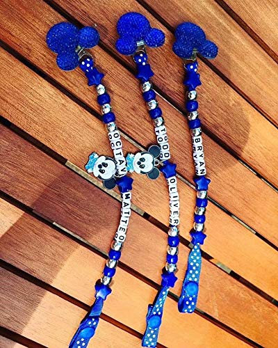 Baby Boys Blue and Silver Mickey Mouse Boys Name Dummy Clip Chain Holder Pacifier Holder Chain Clip