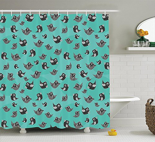 [Turquoise Decor Collection Pattern of Flying Cute Birds Striped Paper Cut Diy Springtime Romantic Art Polyester Fabric Bathroom Shower Curtain Set with Hooks Dark Mint Black] (Pin Up Girl Costume Ideas Diy)