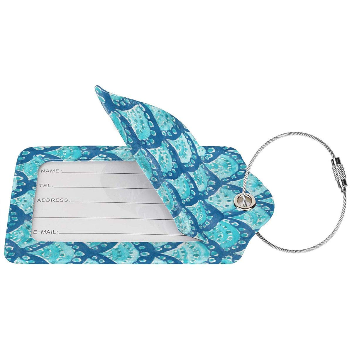 Tie Dye Luggage Tags With Full Back Privacy Cover W//Steel Loops