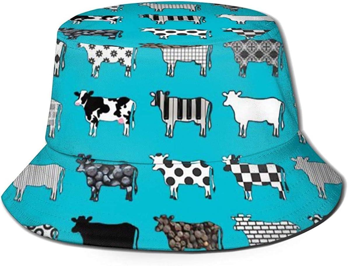 sombrero de pescador Zharkli Sombrero de vacas turquesas de viaje sombrero de protecci/ón UV plegable ligero transpirable