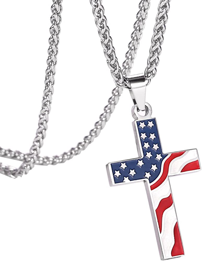 JDXN Flag Day Gift Stainless Steel American USA Flag Cross Religious Pendant Necklace Jewelry For Men