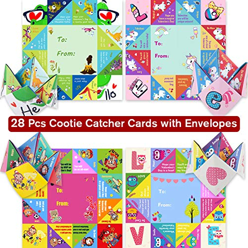 Valentines Day Cards for Kids Boys Girls,Pack of 28 Cootie Catcher Cards with 4 Patterns,Paper Fortune Teller Origami Games with Envelopes,Valentine Treats Gifts for School Classroom, Party Favors Toy - Fortune Teller Paper Game