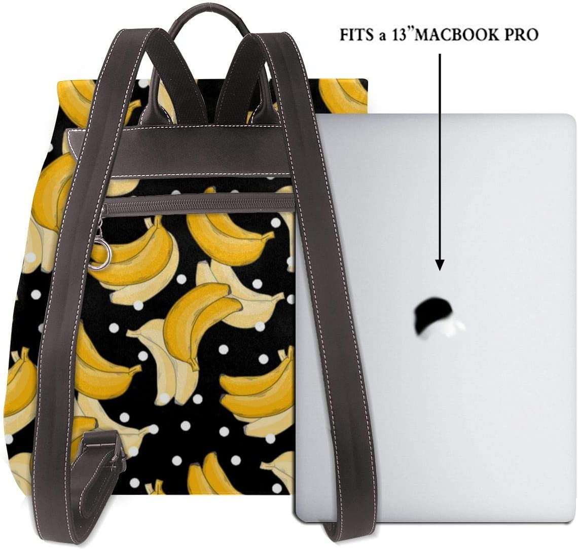 Oximing Banana Pattern Womens Leather Shoulder Bag Outdoor Bag And Schoolbag