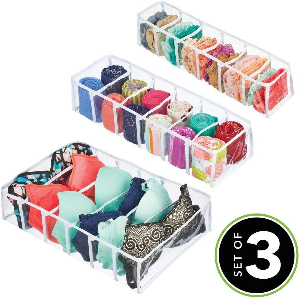 Aufbewahrungssystem aus Kunststoff f/ür W/äsche mDesign 3er-Set Schubladenboxen Socken durchsichtig und wei/ß Leggings oder Schals rechteckige Schubladen Organizer in unterschiedlichen Gr/ö/ßen