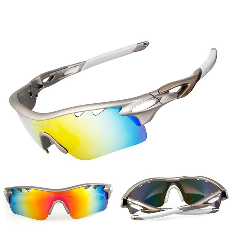 Polarizadas Gafas de deporte anti-UV400 ciclismo gafas con 5 lentes intercambiables, gris: Amazon.es: Deportes y aire libre