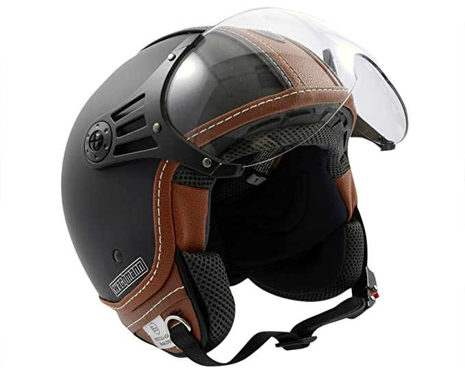 Amazon.es: Wachmann WA-70 serie Gloria – Casco tipo jet – Colores: negro mate y marrón