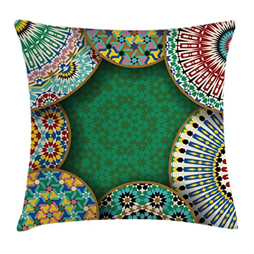 Ambesonne Moroccan Throw Pillow Cushion Cover, Oriental Motif with Mix of Hippie Retro Circle Morocco Mosaic Lines Sacred Holy Design, Decorative Square Accent Pillow Case, 20 X 20 Inches, Multi by Ambesonne