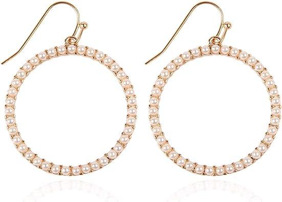 Pair teardrop shape multi hoop dangle drop earrings sparkly diamante rhinestone