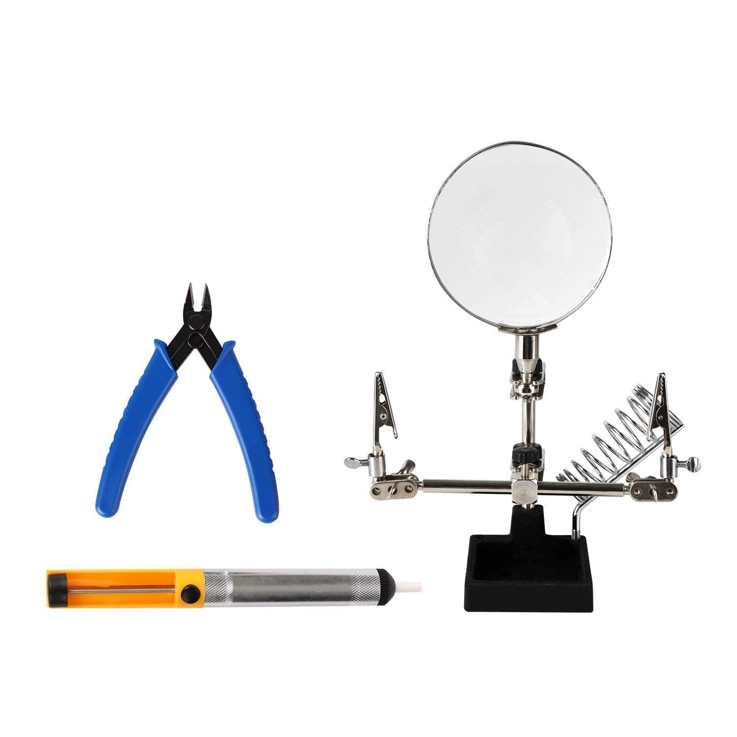 Repair Tools 3 in 1 Repair Set Helping Hands Magnifying Glass Desoldering Pump and Wire Cutter Pliers with High Precision Professional and Ideal Soldering Tools By Kaisi