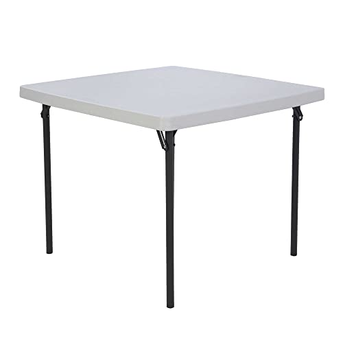 Lifetime 22315 Folding Square Card Table, 37 Inch Top, White Granite