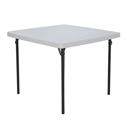 Gentil Lifetime 22315 Folding Square Card Table, 37 Inch Top, White Granite