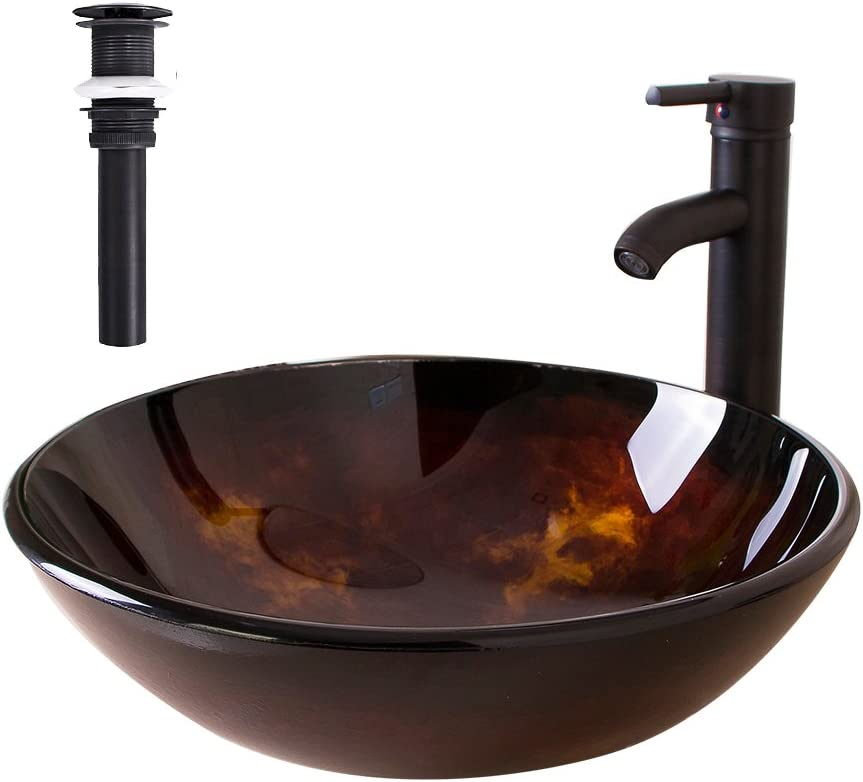 Sliverylake Artistic Bathroom Tempered Glass Vessel Sink Combo Oil Rubbed Bronze Faucet and Drain Countertop Basin