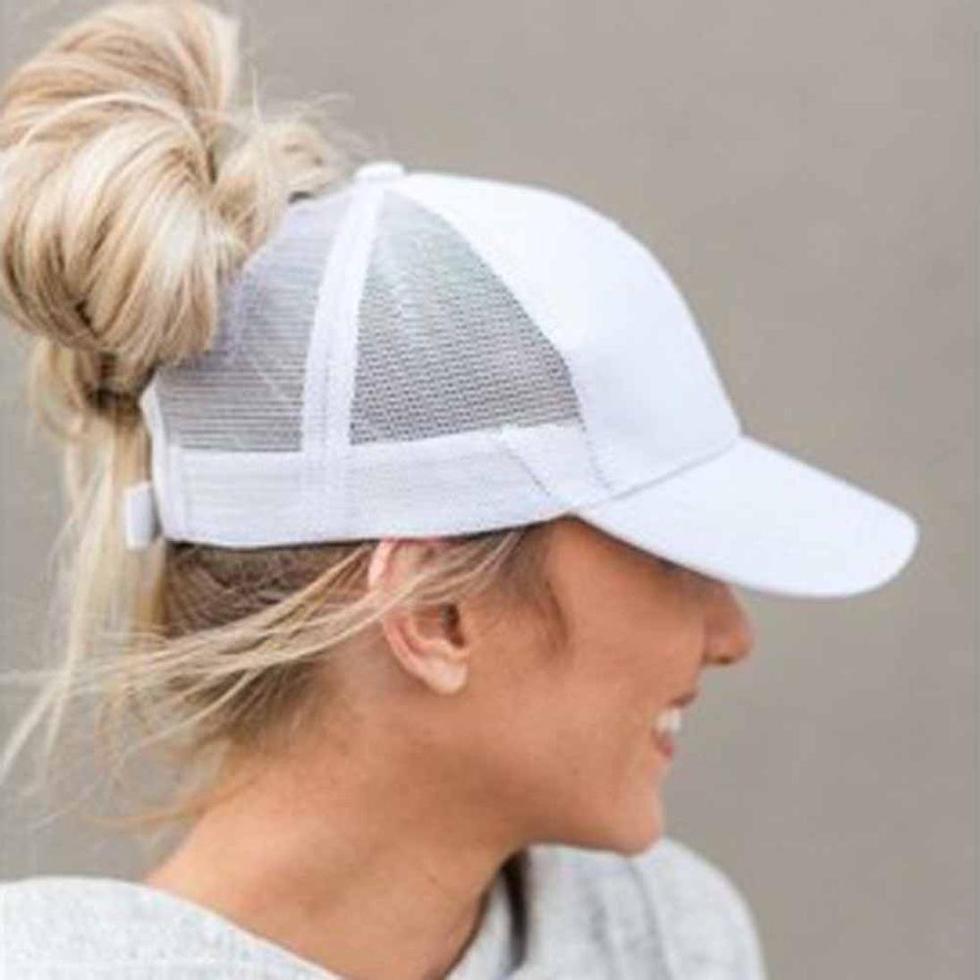 Baseball Cap, Shybuy Trucker Hat Plain Ponytail Baseball Visor Cap Adjustable Ponytail Cap (White, 54~62cm) by Shybuy Hat (Image #1)