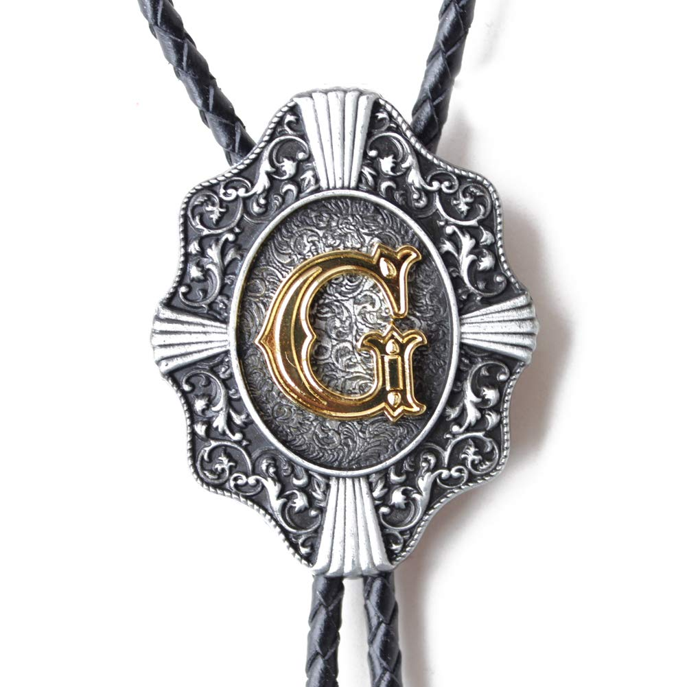 FEIBOLY Letter Bolo Tie for Men Cowboy Gold Initials Native American Art Necklace