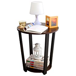 1208S Small Round End Table Side Table Sofa Table for Small Spaces Living Room, Walnut Black