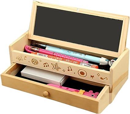 Sgwxiane Caja de madera para lápices, caja de doble capa para ...