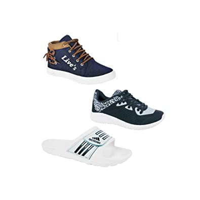 65f1f56dabdc8 MY COOL STEP Mens Slipper and Casual Shoes Pack of 3 (Combo-6 Lives Flips  Champion)  Buy Online at Low Prices in India - Amazon.in