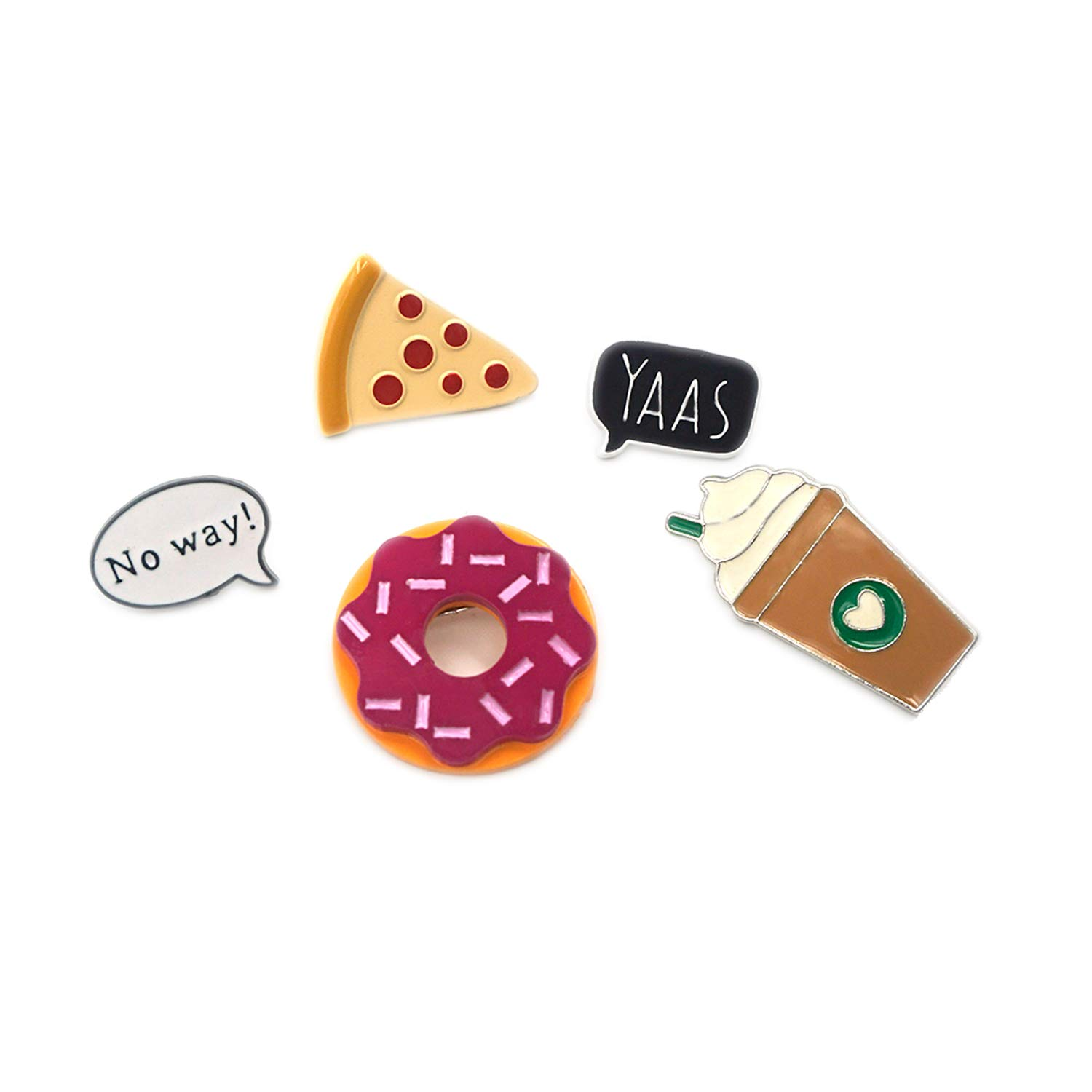 5 Pack Enamel Pin Set Cool No way Speech Coffee Pizza Donuts Ice Cream Pins For Backpacks Jackets Foma B01LYCB9HJ_US