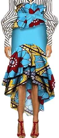 BingSai Falda asimétrica de algodón con Volantes Estilo Africano ...