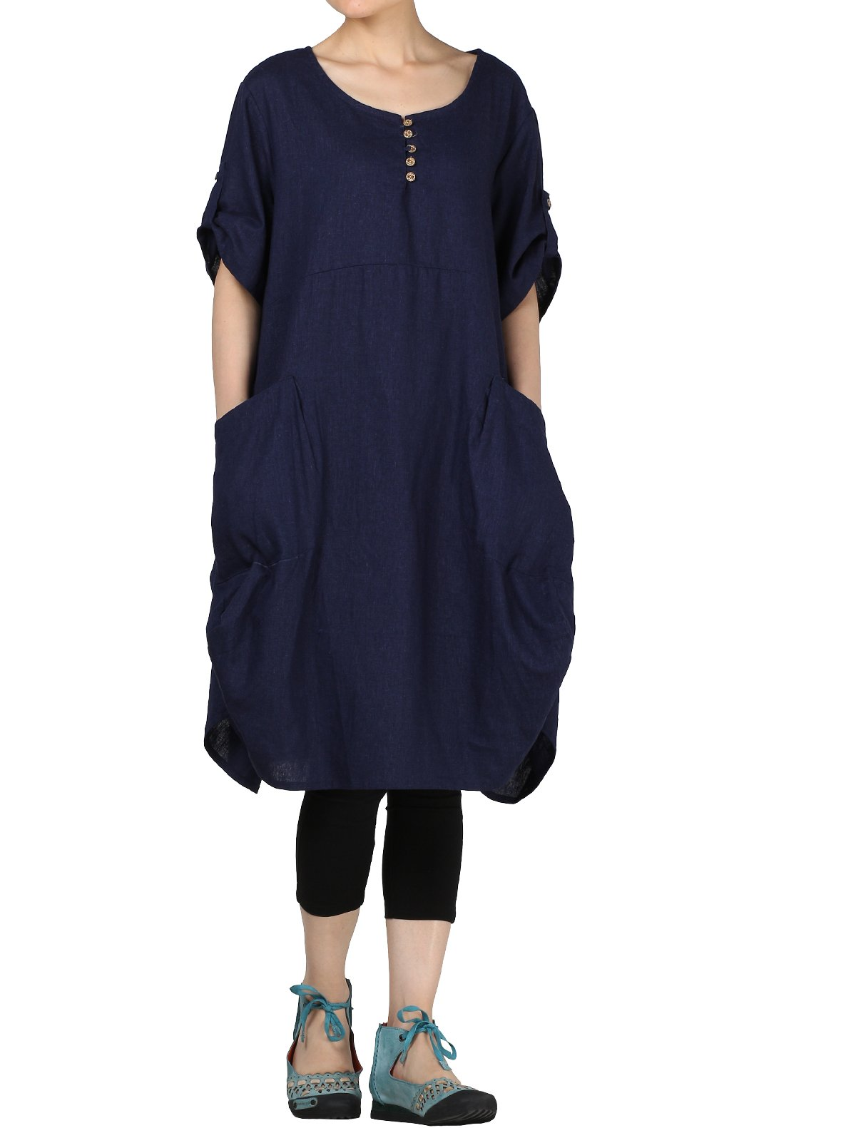 Mordenmiss Women's Summer Roll-up Sleeve Baggy Dress with Pockets 2XL Blue