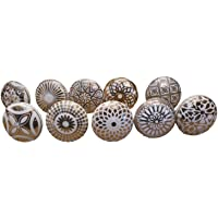 JGARTS 10 x Mix Gold Golden Color Vintage Look Flower Ceramic Knobs Door Handle Cabinet Drawer Cupboard Pull Mandala…