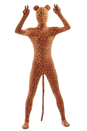39b0a4406e6a8a AOVEI Zentai Suits Unitard Lycra Full Body Costume Halloween Suit Leopard  Bodysuit for Kids,S