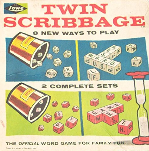 "Twin Scribbage - Word, Dice + Crossword Game - ""8 New Ways To Play"" E.S. Lowe 1965"