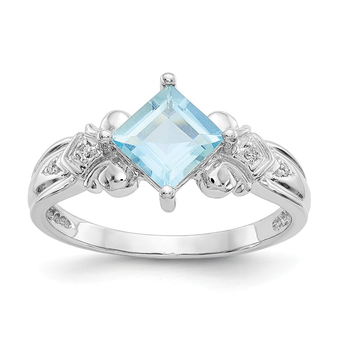 ICE CARATS 10k White Gold Blue Aquamarine Diamond Band Ring Size 6.00 Gemstone Fine Jewelry Ideal Mothers Day Gifts For Mom Women Gift Set From Heart