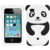 kwmobile Funda para Apple iPhone 4 / 4S - Carcasa Protectora de [Silicona] y diseño de Panda - Cover [Trasero] de móvil